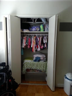 Her closet is stuffed!
