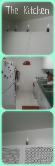 This Kitchen is pretty small and very sticky and white (Can you tell I'm not a big fan?)