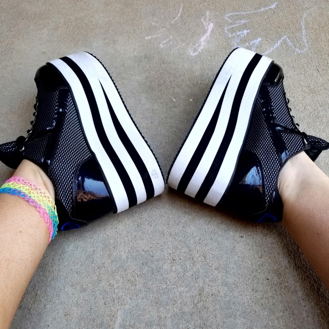 YRU Black and White Striped Platforms